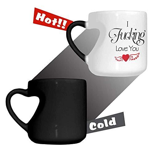 Funny Heart-shaped Color Changing Mug Heat Activated Color Changing Ceramic Heart-shaped Coffee Mug - I Fucking Love You Mug Novelty Mug 1266 Oz
