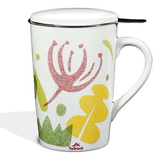 Tea Branch - Spring Ceramic Tea Infuser Mug With Filter and Lid Single Tea Set Tea Strainer Mug For Loose Leaf Tea Tea For One Set Tea Gifts Porcelain Brewing Infuser Tea Cup 128 ounce