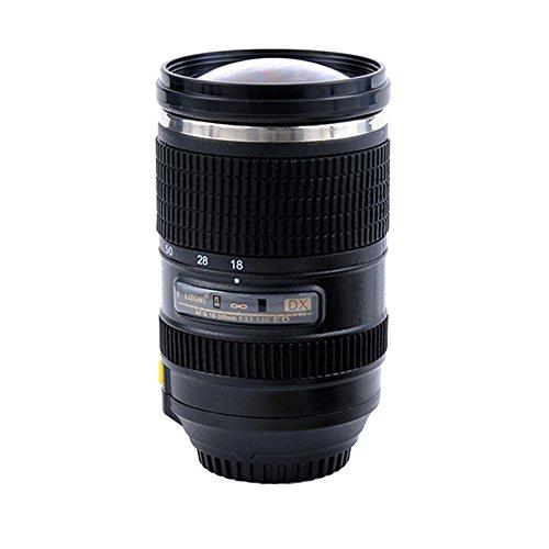 Arsmt Camera Lens Self Stirring Mug Travel Premium Stainless Steel Mixing Cup Mix for CoffeeMilkTeaCocoa Self Stirring Mug 500ML17oz Black