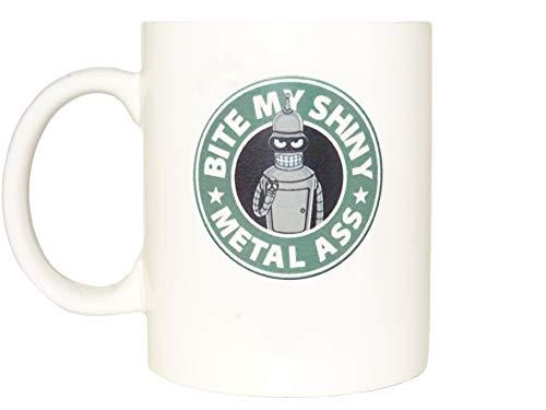 Bender bite my shiny metall ass Funny mug Cool Novelty mug porcelain mug White mug Coffee Coffe cup printing mug gift mug