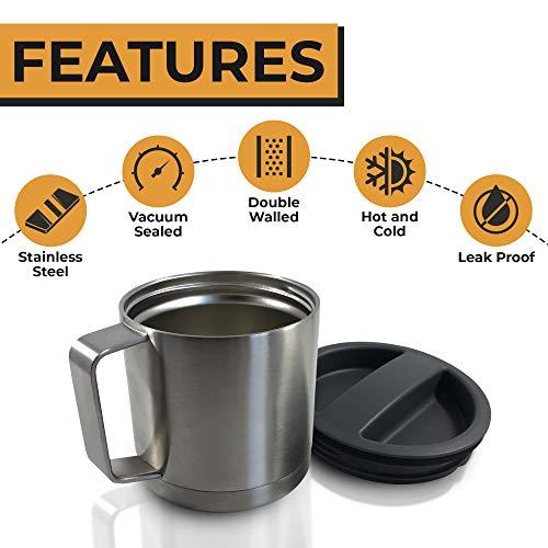Stainless Steel Insulated Coffee Mug with Lid - Camping Mug - Beer Mug - 18oz 540ml Thermal Mug with Handle