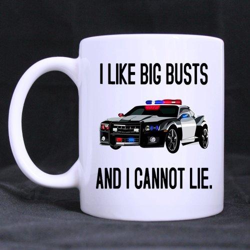 Funny Cops With Camera Mug - I Like Big Busts and I Cannot Lie Mug Funny Novelty Ceramic Tea Coffee Mug with Gift Box 11oz