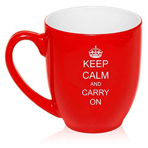 16 oz Large Bistro Mug Ceramic Coffee Tea Glass Cup Keep Calm And Carry On Crown Red