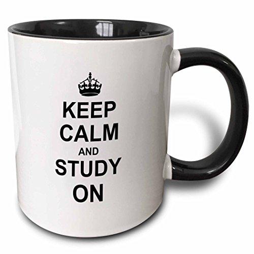 3dRose 157775_4 Keep Calm and Study on Mug 11 oz Black
