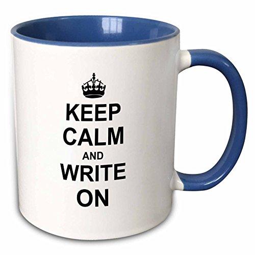 3dRose 157787_6 Keep Calm and Write on Mug 11 oz Blue