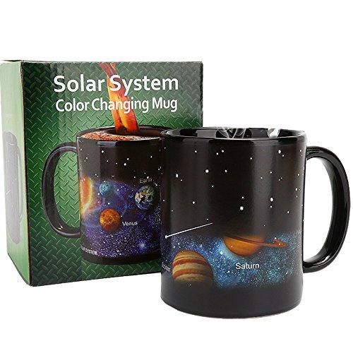 Heat Changing Constellation Mug Klassiker 11oz Black Heat-sensitive Solar System Color Changing Ceramic Espresso Cups for Men Women Mom Dad Brother Sister - Valentine's Day Boyfriend