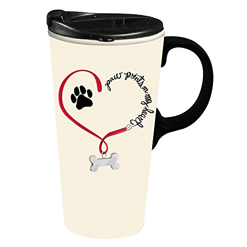 Cypress Home Paw Prints Dog Ceramic Travel Coffee Mug 17 ounces