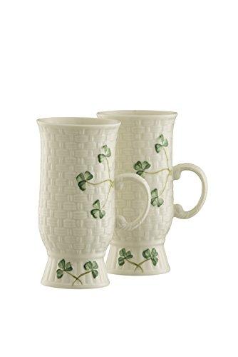 Belleek Irish Coffee Mugs Pair Medium White