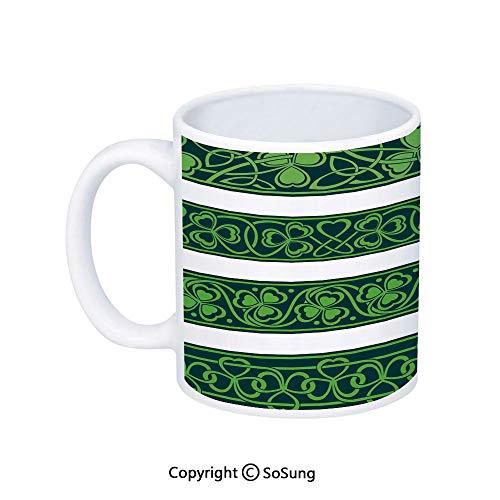 Irish Coffee MugSet of Four Shamrock Borders Gaelic Nature Botany Theme Artsy Trefoils SwirlsPrinted Ceramic Coffee Cup Water Tea Drinks CupForest Green White