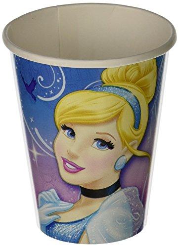 Cinderella Printed Paper Cups Disney Princess Birthday Party Drinkware 8 Pack BluePink 9 oz