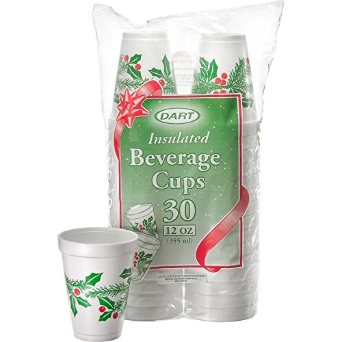 DART 12J30X Holiday Printed Cups White Insulated Foam Cup 35 Top 21 Bottom Diameter 44 Height 12 oz 1 Packs of 30