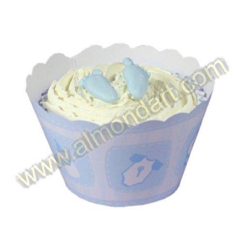 Pack of 12 BABY BOY Christening Printed Cupcake Wraps