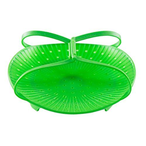 Vivachef Vegetable Steamer - Food Grade Silicone Steamer Basket Insert, Green