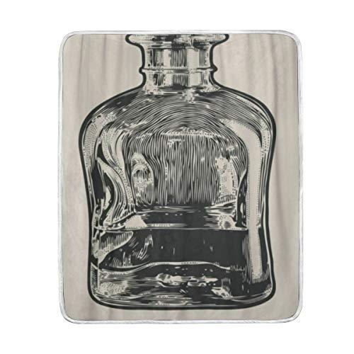 YCHY Blanket Vintage Carafe Whiskey Engraving Bottle Malt Whisky Bourbon Scotch- 90 x 90 Flannel Fleece Velvet Plush Throw Blankets