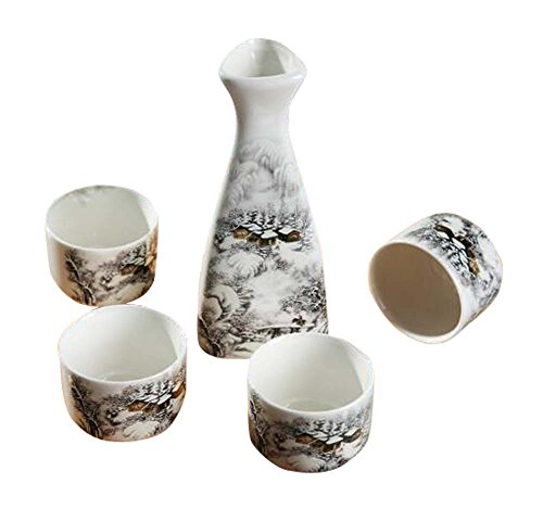 Set Of 5 Household Use Sake Cups Retro Ceramic Wine Sets Wine Jug-Snow