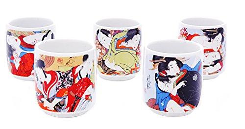 5 PCS CERAMIC JAPANESE SAKE CUPS GUINOMI EROTIC ART