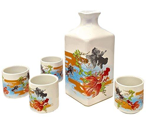 Happy Sales 5 Piece Japanese sake Set Goldfish Multicolor