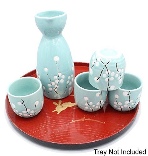 Japanese Ceramic Sake Set ~ 5 Piece Sake Set Included 1 TOKKURI bottle and 4 OCHOKO cups with Green Flower Patterns