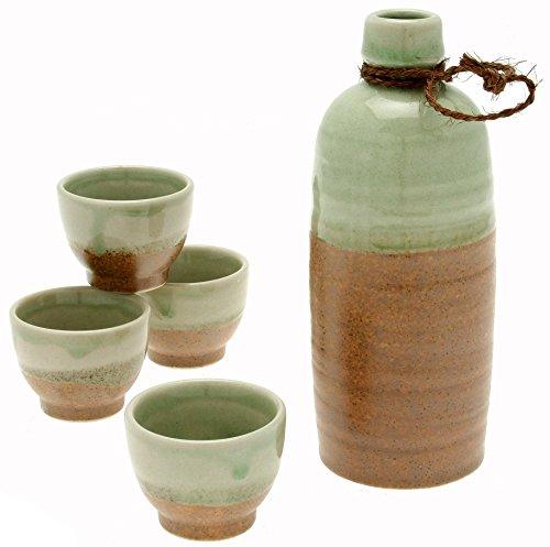 Kotobuki Japanese Sake Set Aka Shiga Crystal Jade Sand Brown