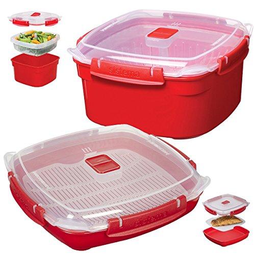 2 Sistema Klip It Microwave Steamer Food Storage Container Tray Vent Locking Lid