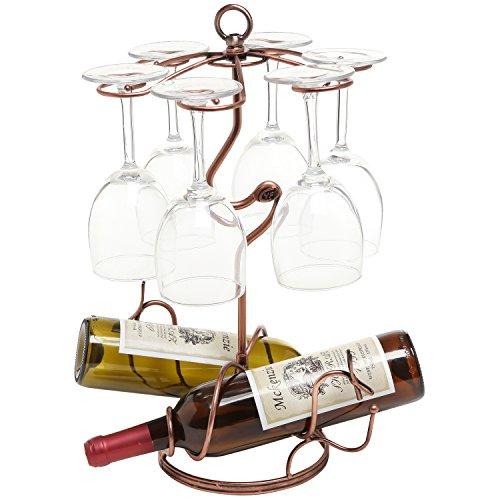 Freestanding Scrollwork Bronze Metal 2 Wine Bottles  6 Wine Glass Stemware Storage Display Rack Stand