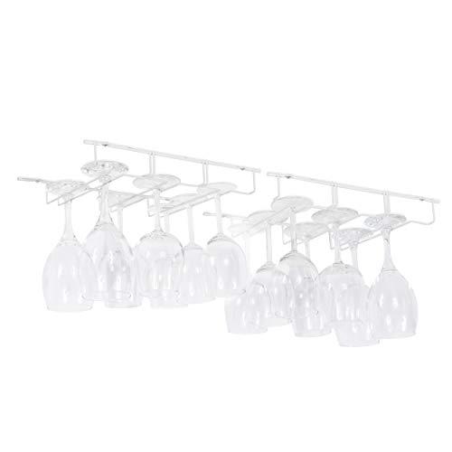 Wallniture Napa Stemware Wine Glass Hanger Rack Under Cabinet Kitchen Bar Storage White 135 Inch Set of 2
