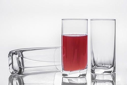 Long Drink Glasses  Tumbler Set of 3 13 oz Shatter Resistant Drinkware Elegant Glassware Clear