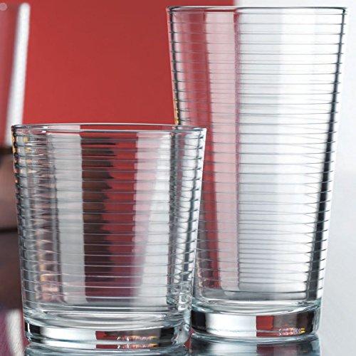 Set of 16 Heavy Base Ribbed Durable Drinking Glasses Includes 8 Cooler Glasses17oz and 8 Rocks Glasses13oz 16-piece Elegant Glassware Set
