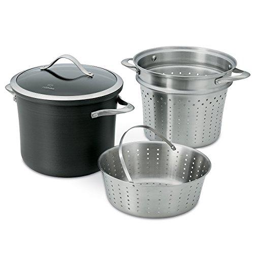 Calphalon Contemporary Hard-Anodized Aluminum Nonstick Cookware Pasta Pot with Steamer Insert 8-quart Black - 1876992 Renewed