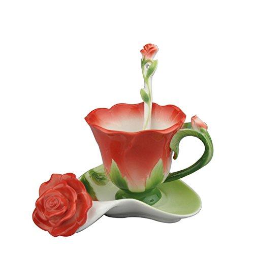 Beddinginn Chinese Tea Cup Set Flower Teacups And Saucer Sets Rose Shape Porcelain Coffee Mug With Spoon Red