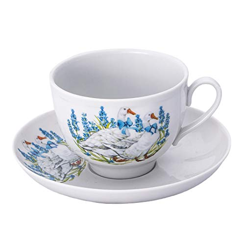 Dulevo Porcelain Geese Teacup and Saucer