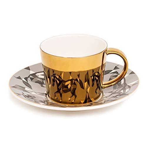 Mirror Cup Horse Reflection Pattern SaucerArt Coffee CupLuxury Golden Inlay Porcelain Coffee CupTeacup on Saucer Coffee Cup and SaucerTea Party Tea Cup Teacup Saucer Tea Cup Coffee Cup