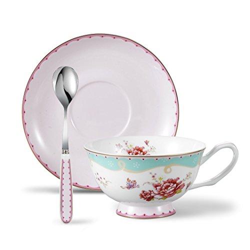 Panbado 3 Piece Bone China Porcelain Gold Rimmed Tea Cup Saucer Set with Spoon Teacup Coffee 68 oz 200ml Pink