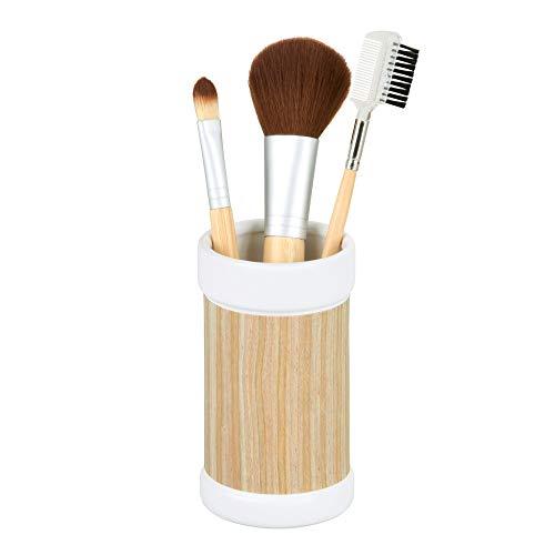 InterDesign RealWood Ceramic Tumbler Cup for Bathroom Vanity Countertops - WhiteLight Wood Finish