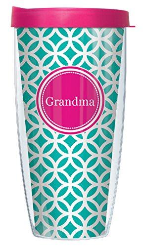 Grandma On Teal Roundabout Wrap Super Traveler 22 Oz Tumbler Mug with Lid