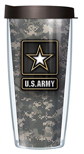 US Army Star on Camo 22 Oz Traveler Tumbler Mug with Lid