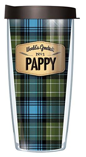 Worlds Greatest Pappy Blue Flannel Design 16 Oz Traveler Tumbler Mug with Lid