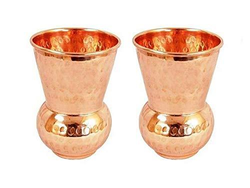 bona fide Handmade pure copper glass cup for water Copper Tumbler Copper water glass Copper water tumbler Copper cup for health benefits set of 2 Hammered 13 oz each Pure Copper Tumbler Set of 2