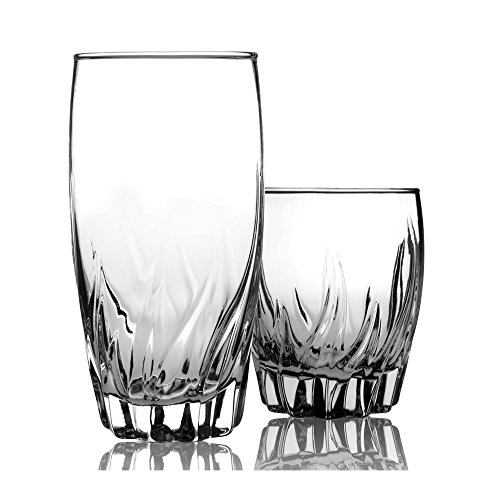 Anchor Hocking Central Park Small and Large Drinking Glasses 12-Piece Glassware Set