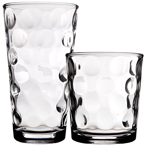 Palais Glassware Cercle Collection Clear Glass Set with Circle Design Set of 8 -4 13 oz DOF 4 17 oz Highballs Clear