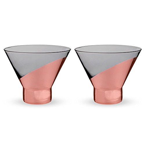 Viski Raye Copper-Dipped Stemless Crystal Martini Glasses - 10 oz - Set of 2