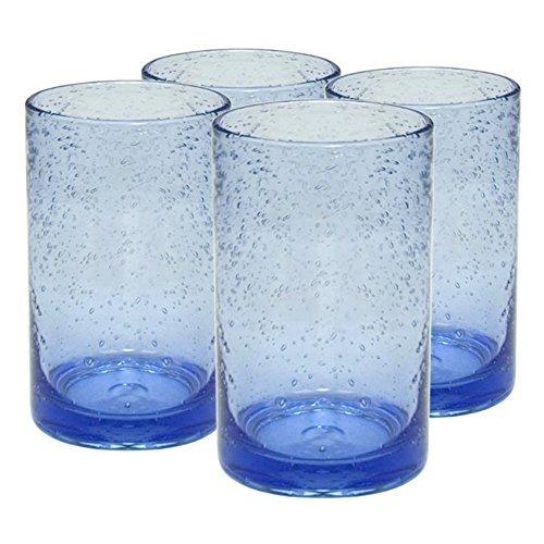 Artland Iris Seeded Light Blue Glass 17 Ounce Highball Tumbler Set of 6