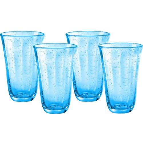 Artland Savannah Turquoise Bubble Glass 18 Ounce Highball Tumbler Set of 4