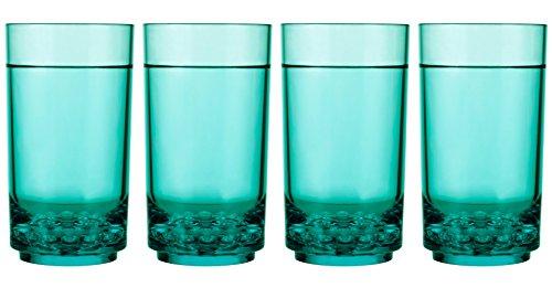 Drinique Elite Tall 14 oz Highball Tumbler - Unbreakable BPA-free Tritan Drinking Glasses - Premium Plastic Drinkware Set of 4 Teal