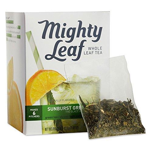 Mighty Leaf Sunburst Green Iced Tea 1 box 6 Pouches Light Caffeine