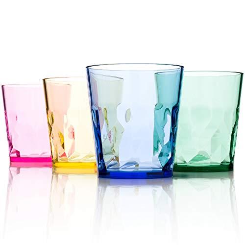 SCANDINOVIA - 8 oz Unbreakable Premium Juice Glasses Tumbler - Set of 4 - Tritan Plastic Cups - BPA Free - Dishwasher Safe