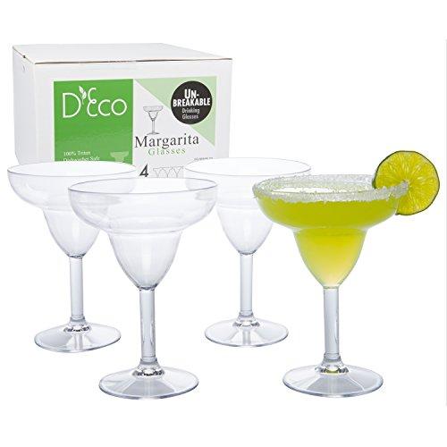 Unbreakable Margarita Glasses - 100 Tritan - Shatterproof Reusable Dishwasher Safe Set of 4