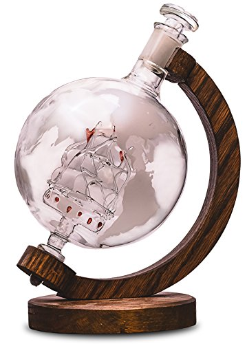 Etched Globe Liquor Decanter - Scotch Whiskey Decanter - 1000ml Glass Decanter for Alcohol - Vodka Bourbon Rum Wine Tequila or Mouthwash - Prestige Decanters Magellans Victoria
