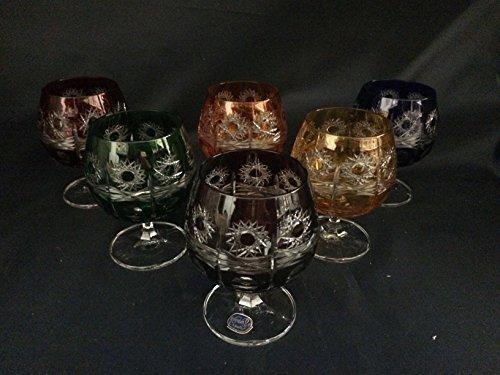Czech Bohemia Crystal Glass - Brandy glasses 10cm multicolor 6pc