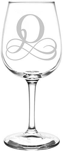 Monogrammed O Vintage Double Infinity Symbol Wedding Monogram Gift Inspired - Laser Engraved 1275oz Libbey All-Purpose Wine Taster Glass